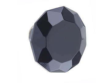 Glass Faceted Door Knob Black