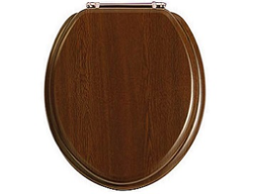 Toilet Seat Rose Gold Hinge Walnut