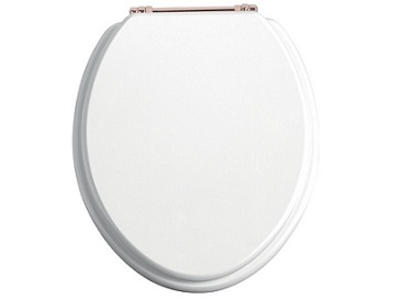 Toilet Seat Rose Gold Hinge White Gloss