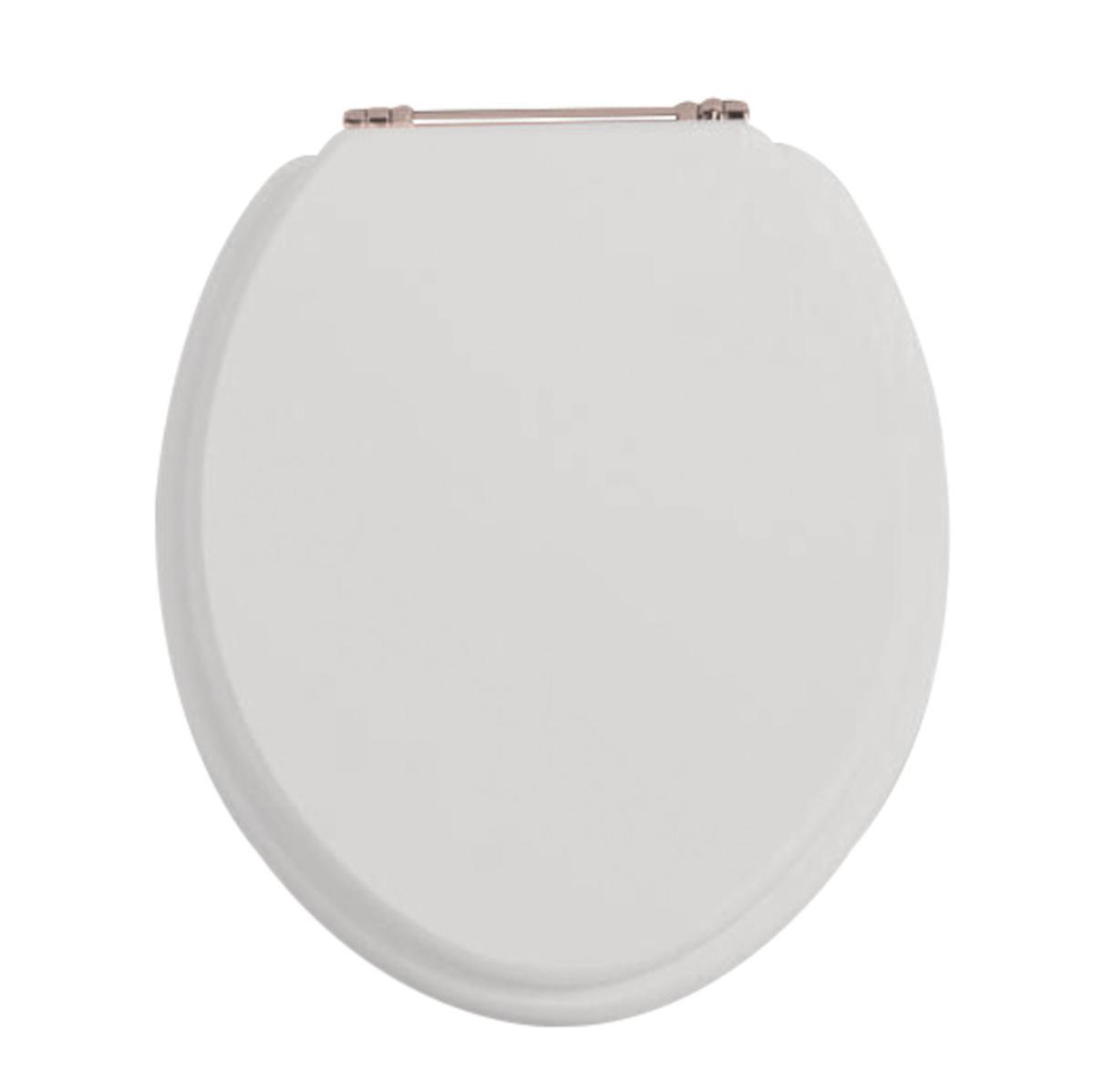 Dove Grey Toilet Seat With Rose Gold Standard Hinge Wc