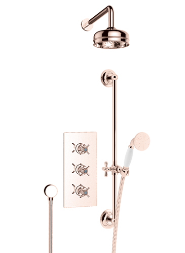 Dawlish Recessed Showerwith Premium Fixed Head and Flexible Riser Kit Rose Gold