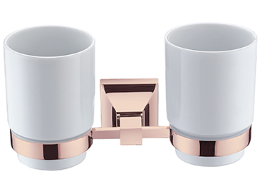 Chancery Double Tumbler & Holder Rose Gold