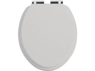 Toilet Seat Soft Close Chrome Hinge Dove Grey