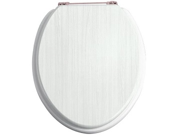 Toilet Seat Rose Gold Hinge White Ash