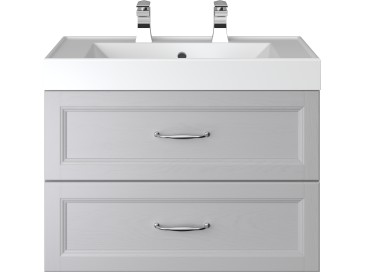 Caversham 700mm Wall Hung Vanity Unit 2 Drawer Dove Grey