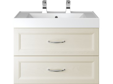 Caversham 700mm Wall Hung Vanity Unit 2 Drawer Ivory Lace