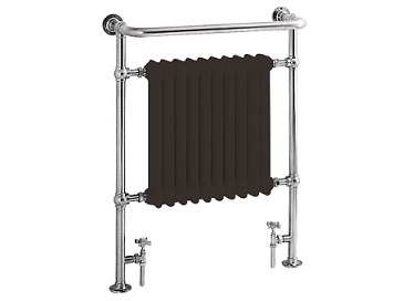 Clifton Heated Towel Rail Chrome with Black Bars